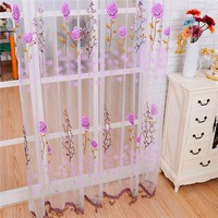 Hot Selling New Tulle Flower Lace Curtains  Window Filament Curtains Drapes for Home Decoration