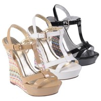 Hailey Jeans Co Womens Open Toe Ankle Strap Wedges