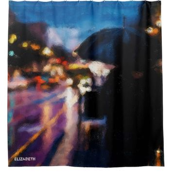 Lady With Umbrella In Rainy Night Moody Drawing Shower Curtain