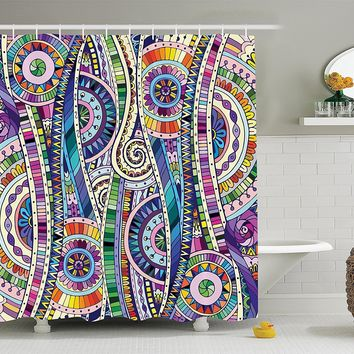 Bohemian Hippie Floral Mozaic Fabric Shower Curtain