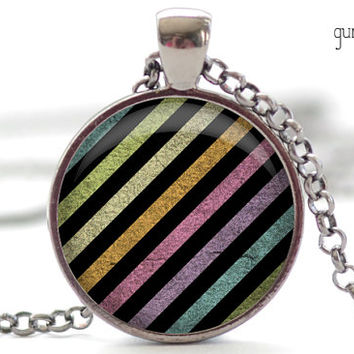 Have a Day Necklace, Grunge Rainbow Jewelry, Grungy Rainbow Charm, Your Choice of Finish (518)