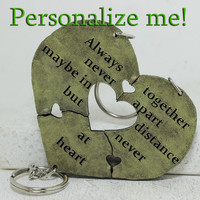 Heart Key chain set of 3 Personalized Friendship quote Key chains Heart Puzzle Made To Order
