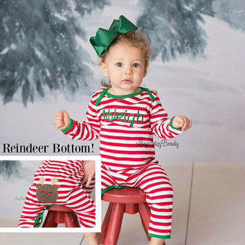 Red And White Stripe Christmas Pajamas Infant Baby Girl Boy Full Piece Romper Reindeer Bottom Appliqué Personalized Custom Embroidered Name