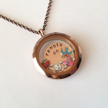 "Led Zeppelin ""Ramble On"" Floating Charm Locket Necklace, Hand Stamped"