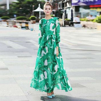 High Quality 2018 Runway Maxi Dress Women's Long Sleeve Floor Length Beach Party Floral Printed Casual Long Pleated Dress