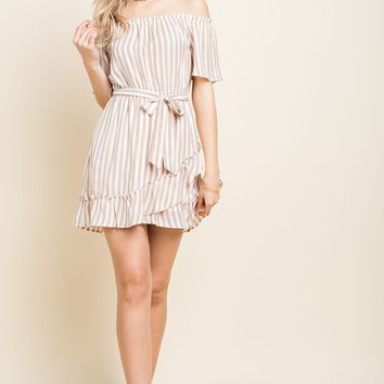 Off the Shoulder Striped Ruffle Dress with Waist Tie - Taupe
