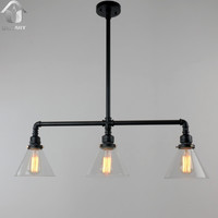 Black Antique Rustic Glass Shade Hanging Ceiling Metal Pendant Light Max. 120W with 3 Lights Painted Finish