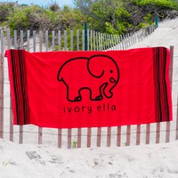 Red & Navy Beach Towel