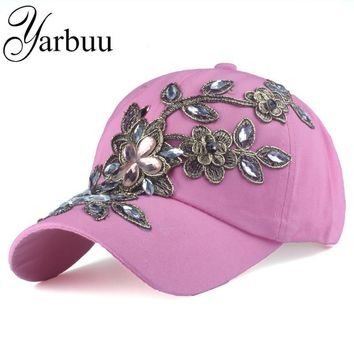 [YARBUU] Brand baseball caps with Flower 2017 summer cap for women Female cap hat high quality Rhinestone Denim hats  jean cap