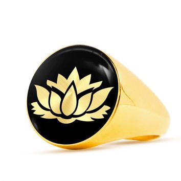 Lotus Flower v2 - 18k Gold Finished Luxury Signet Ring