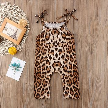 Baby Girl Leopard Print Romper Cute Sleeveless Romper Newest Summer Jumpsuit  Baby Girls Clothing
