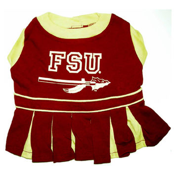 Mirage Pet Products Puppy Dog Cat Costume Florida State Seminoles Sports Team Logo Cheer Leading Uniform MD