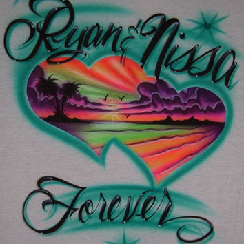 Airbrush Personalized T Shirt Beach Scene Hearts With Two Names