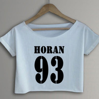 HORAN 93 1D One Direction Hipster Crop Top Crop Tee Black and White Women Tee Shirt - BG1
