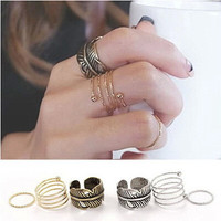 New Arrival Gift Jewelry Shiny Korean Accessory Vintage Stylish Leaf Ring [6586156743]