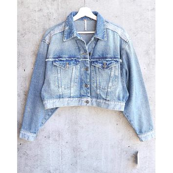 Free People Bedford Cropped Denim Jacket Indigo Blue