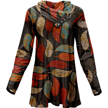 Azalea Brown & Orange Leaf Print Button-Front Cowl Neck Tunic - Plus Too