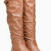 Chestnut Faux Leather Knee High Riding Boots