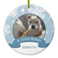 In Loving Memory Pet Photo Snowflakes Christmas Ceramic Ornament