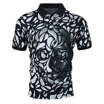 Men's Casual Skull 3D Print Turn-down Collar Polo Shirt
