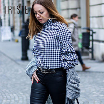 IRISIE Apparel Plaid Frill Women Shirt Tops Black Gingham Cutout High Neck Female Blouse Billow Sleeve Elegant Blouse Shirt