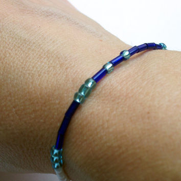 I AM Bracelet- Morse Code Jewelry--I AM Strong bracelet--Murano Glass Bead Bracelet-Made in Italy-Personalized Jewelry-Blue Beads-Aqua Beads