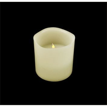 """6"""" Ivory Battery Operated Flameless LED Lighted 3-Wick Flickering Wax Christmas Pillar Candle"""