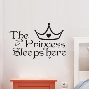 The Princess Sleeps Here Bedroom Wall Stickers Art Decor