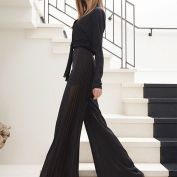 Alexis Edgar Wide Leg Pants with Side Pleats in Eclipse