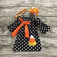 Halloween new Fall winter dress girls Corn black polka dot cute party dress baby kids wear clothes with accessories set