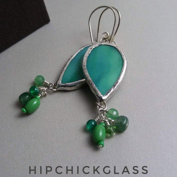 Stained Glass Jewelry, Green Glass Leaves with Green Bead Clusters