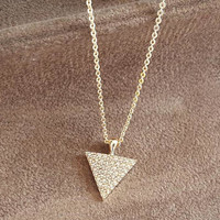 Gold necklace, bridesmaid gift, valentine's day gift for her, triangle necklace, cubic zirconia, bridal party, wedding gift, dainty necklace