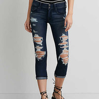 AEO Denim X4 Artist Crop Jean, Dark Destroy Yacht Club