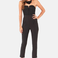 Come On Overlay Strapless Black Jumpsuit