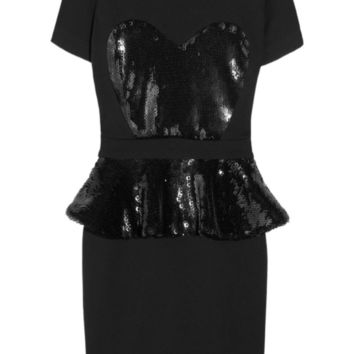 Markus Lupfer Black Sequin Preplum Heart Bodice Dress