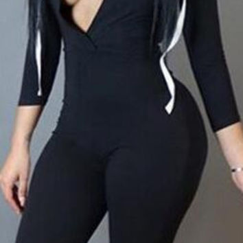 High Waist Pure Color Draw String Hooded Long Jumpsuit