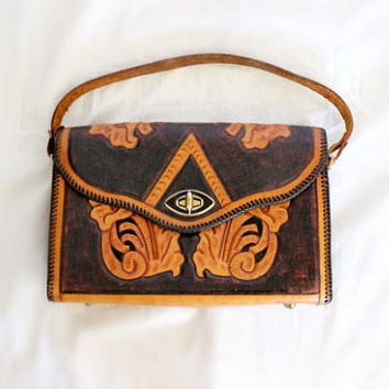 Vintage 1960s Chestnut Bown Floral Hand Tooled Leather Purse