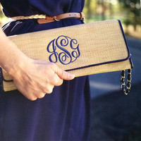 Monogrammed Island Clutch with wristlet-Summer-Beach-Graduation