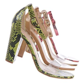Mania30 Chunky Block Heel Sandal w Clear Strap - Women Lucite Transparent