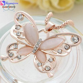 Rose Gold Opal Butterfly Pendant Necklace Chain