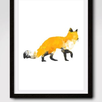 60% OFF SALE Fox Print, Watercolor Fox Print, Download Fox Art, Digital Prints, Printable Wall Art, Home Print, Nursery Wall Art