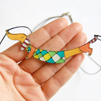 Dachshund dog necklace by lacravatteduchien on Etsy