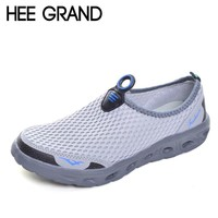 HEE GRAND Casual Men Shoes 2017 Mesh Summer Style Solid Man Flats Loafers Breathable Slip-on Shoes Size Plus 39-45 XMR1619