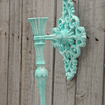 Shabby Chic Candle Sconces, Mint Green, Green, Wedding Decor, Metal, Hollywood Regency, Hand Painted