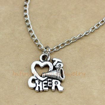 Necklace, Cheer Necklace, Cheer, Love to Cheer, Cheerleader, Megaphone, Cheerleading, Cheer Charm, Christmas, Bridesmaid, Friendship Gift