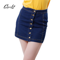 2016 New Summer Women Skirt Short Casual Denim Skirt Dark Blue Cotton A-Line High Waist Slim Mini Casual Denim Skirt CIL-997