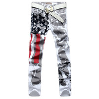 Men Casual USA Flag Printed Jeans Pants Mens Graffiti Print Stretch Jean Slim Fit Trousers waist 29 30 31 32 33 34 36 38 40 42 44