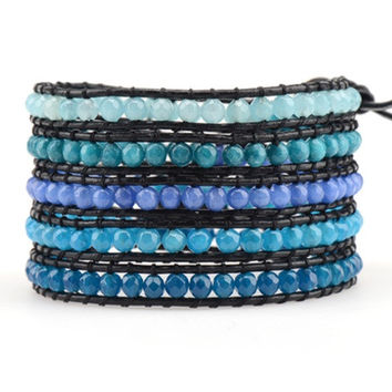 Ombre Teal Agate Stones on Black