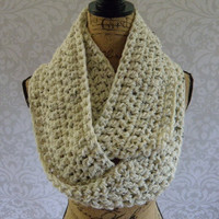 Ready To Ship Infinity Scarf Crochet Knit Large Ivory Tweed Black Brown Women's Accessories Eternity Fall Winter