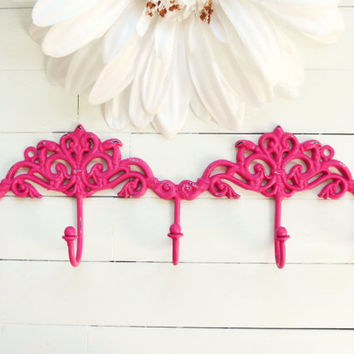 Vibrant Pink Distressed Chic Wall Hook / French Country Wall Hook / Pink Decor / Hook / Key Hanger / Coat Hook / Organize / Ornate / Fixture
